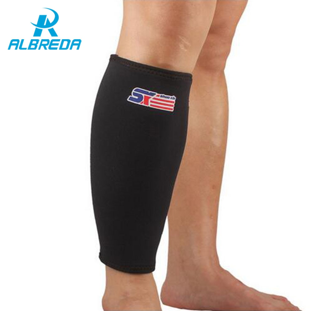 e8e3a3f307efe ALBREDA Neoprene Nylon Basketball Leg Sleeve Outdoor Sports Running  Compression Calf Sleeves Stretch Leggings Support knee pads
