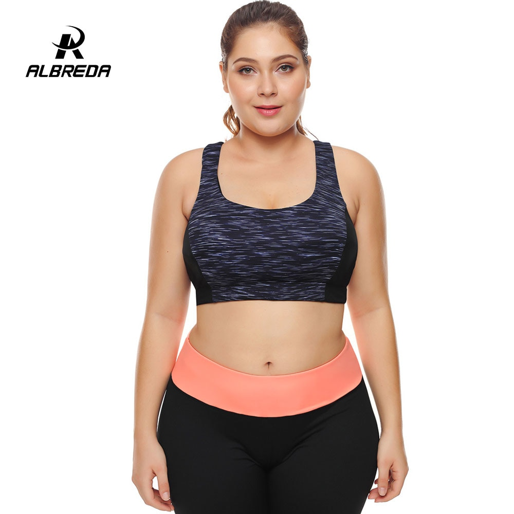 02fa69d7e ALBREDA Women plus size Sports vest Bra Top Fitness Breathable ...
