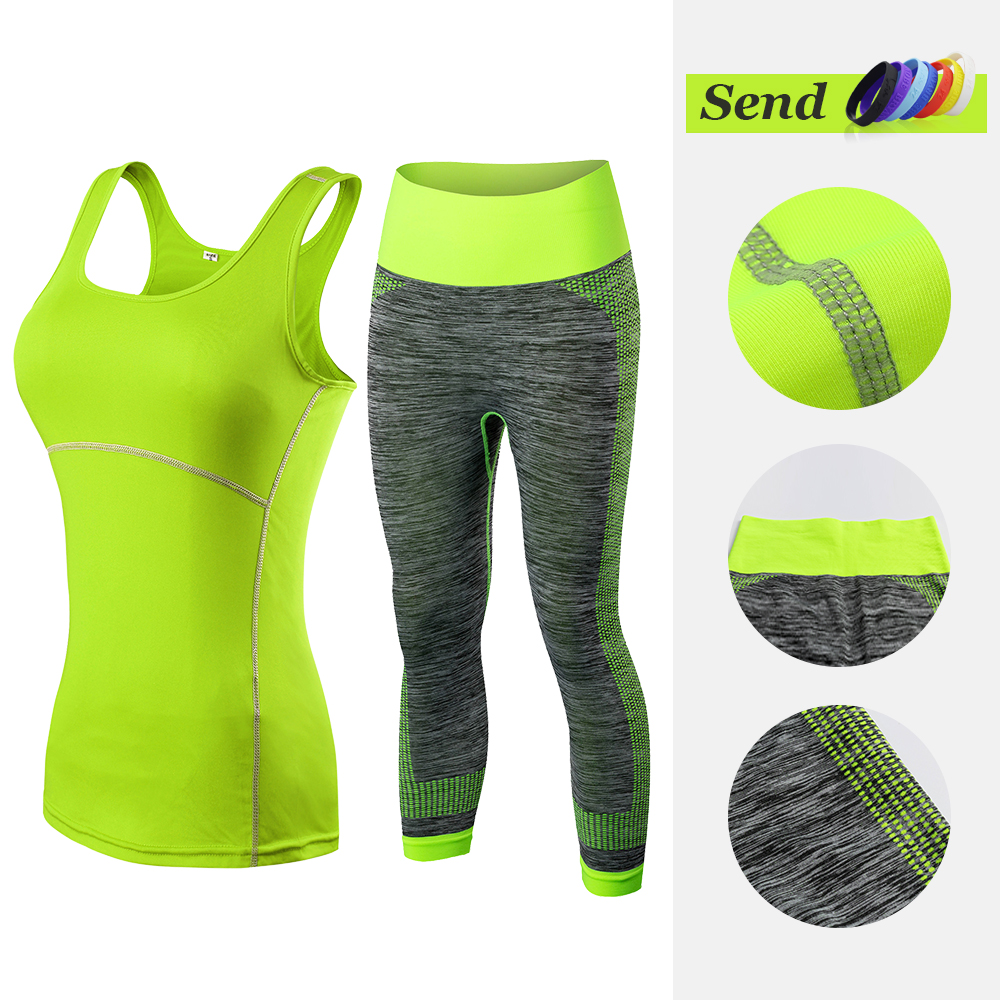 f50b691fc7d Fitness Clothing Stripe Sleeveless Tennis Yoga Vest+Pants Running Tight  Jogging Workout Clothes For Women ...