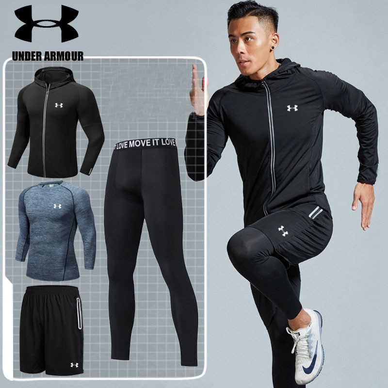 Under Armour gym clothing men training Running Set fitness breathable  compression Sports suit ropa deportiva hombre high quality