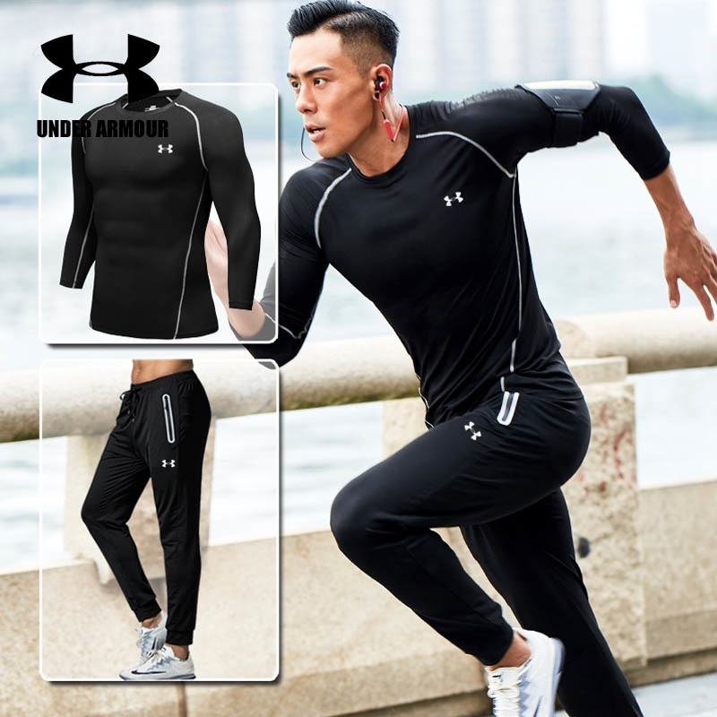 911ab387 Under Armour gym clothing men training Running Set fitness breathable  compression Sports suit ropa deportiva hombre high quality